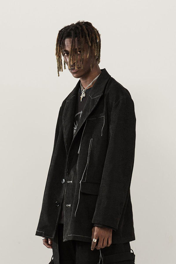 Empty Reference Black Corduroy Blazer