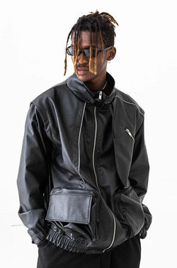 H/C Reflective Detachable Sleeves Leather Jacket