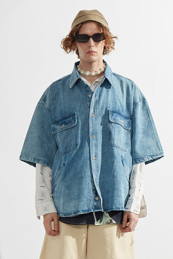 Mix7 Loose Light Blue Denim S/S Shirt