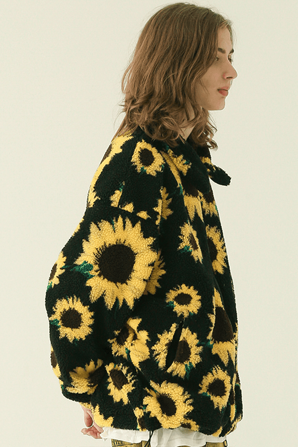 CZ Sunflowers Full Print Sherpa Jacket