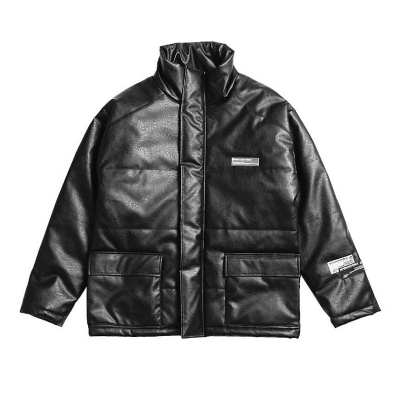 H/C High Collar Leather Down Jacket