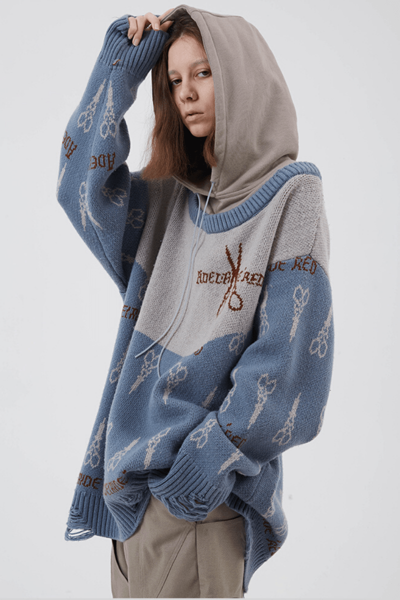 BLIND Vintage Blue Stitched Hooded Sweater