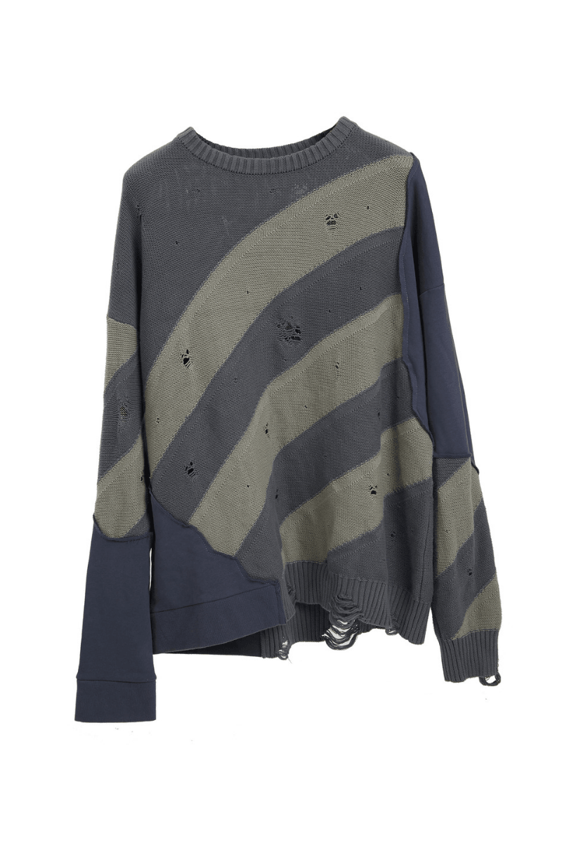 BLIND Distressed Striped Sweater