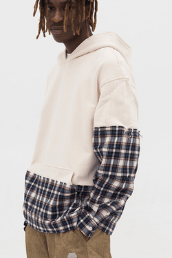 Empty Reference White Plaid Stitched Hoodie