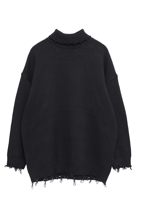 CZ Solid Black Turtleneck