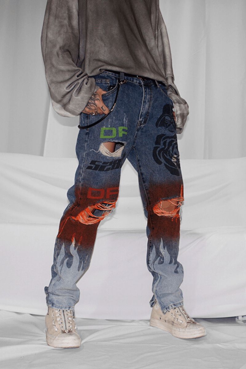 CZ Flame Painted Retro Denim