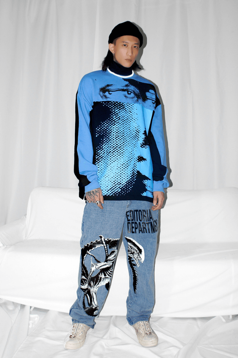CZ Eyes Printed Sweater