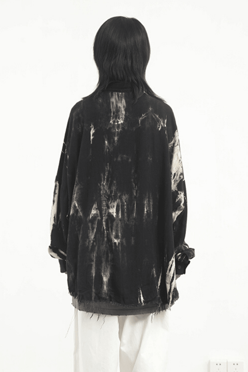 CZ Black Tie Dyed Ripped L/S Shirt