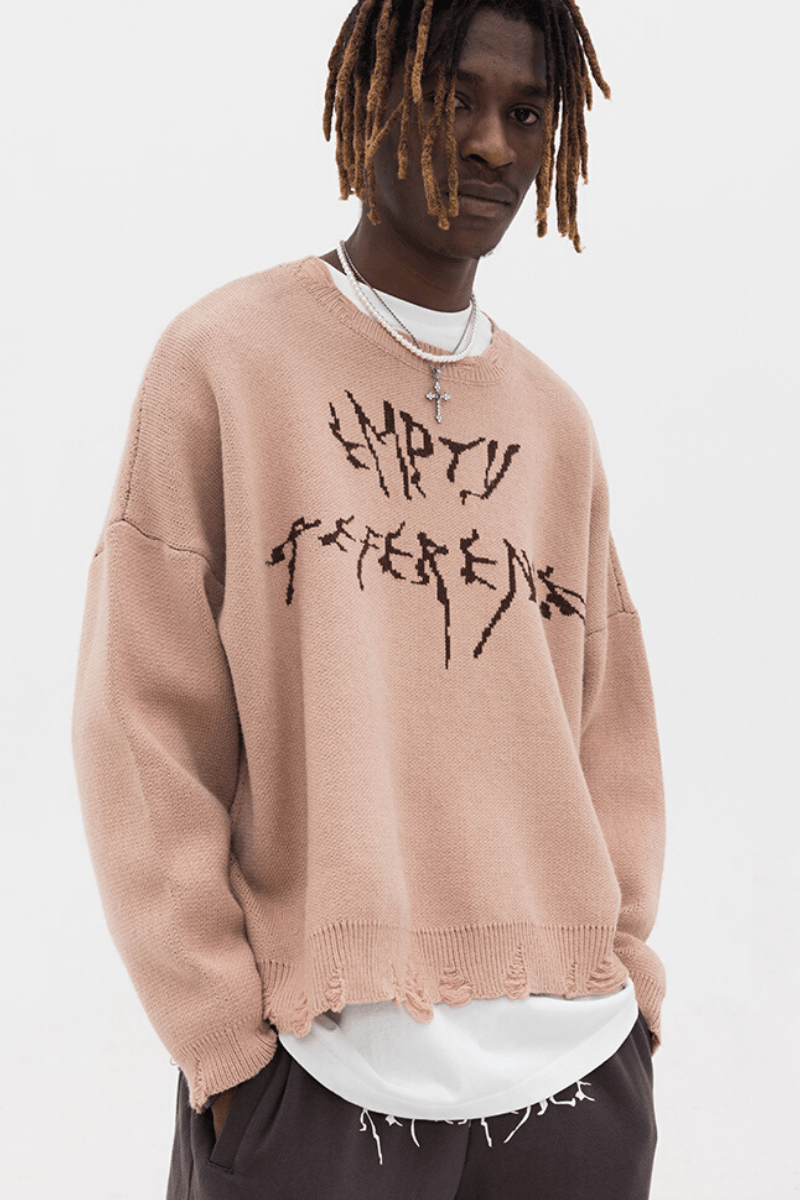 Empty Reference Logo Ripped Sweater