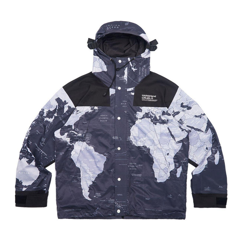 H/C World Map Functional Hooded Jacket