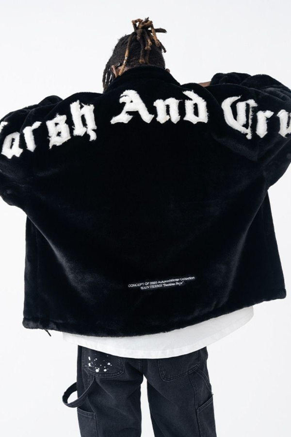 H/C Embroidered Logo Faux Fur Jacket