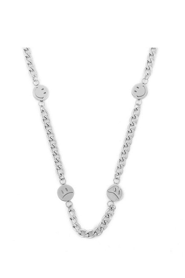CZ Smiley Steel Necklace