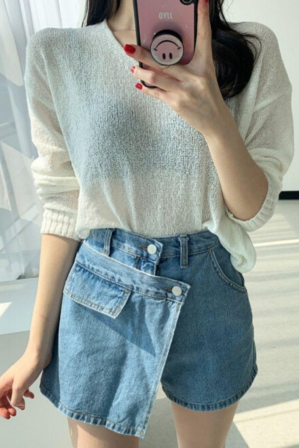 CZ High Waist Irregular Shorts