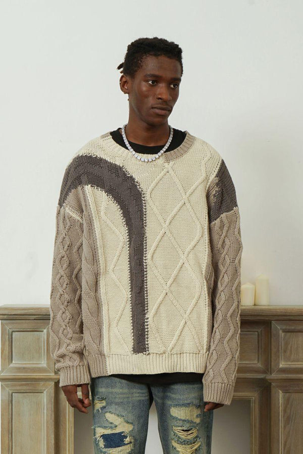 Empty Reference Beige Stitched Sweater