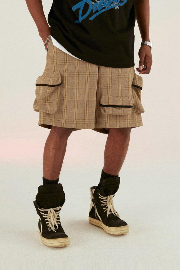 Empty Reference Coffee Plaid Functional Shorts
