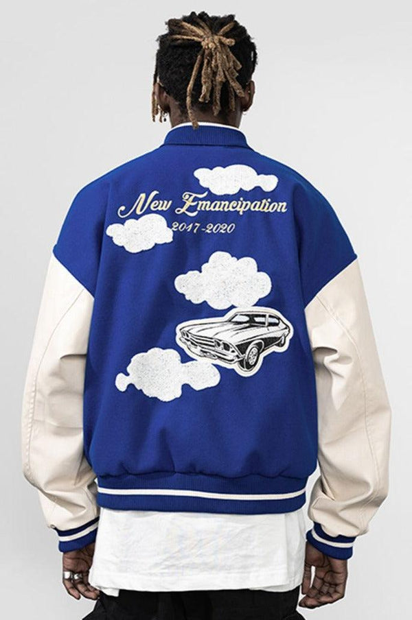 H/C Embroidered Clouds Woolen Varsity Jacket