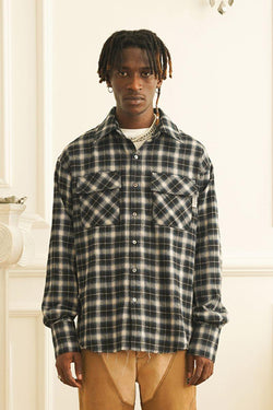 Empty Reference Plaid Ripped L/S Shirt