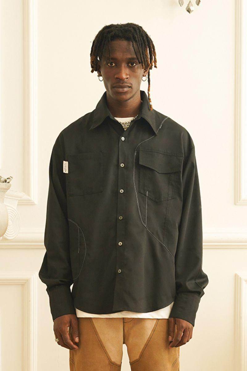 Empty Reference Stitched Contrast LS Shirt
