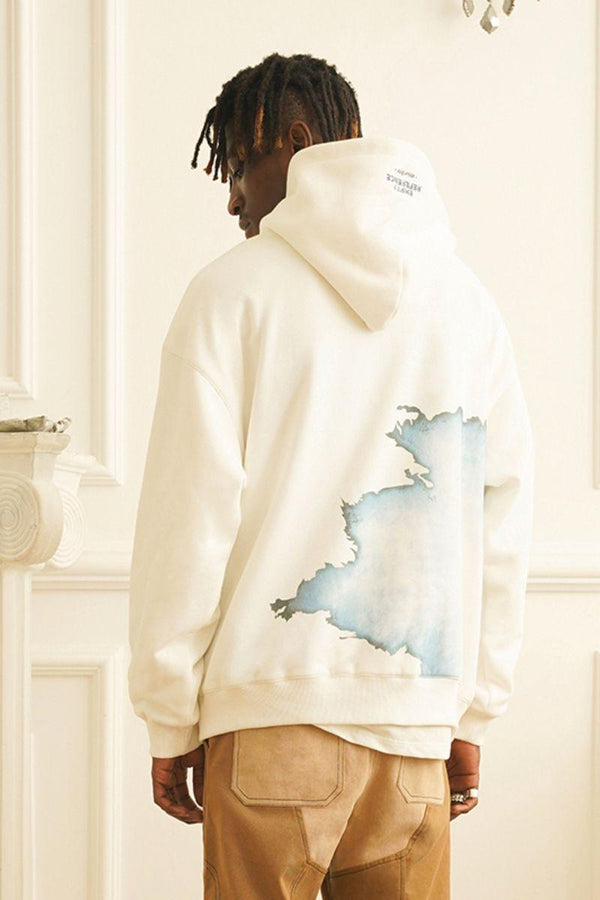 Empty Reference White Flame Printed Hoodie
