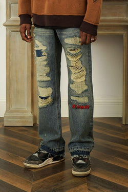Empty Reference Retro Distressed Washed Denim