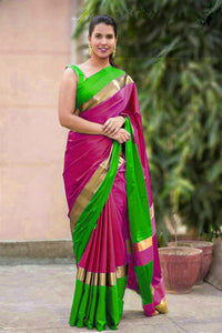 1404a471f5 Purple and Green Color Cotton Silk Plain Saree With Golden Border ...