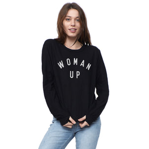 Woman Up Black Pullover
