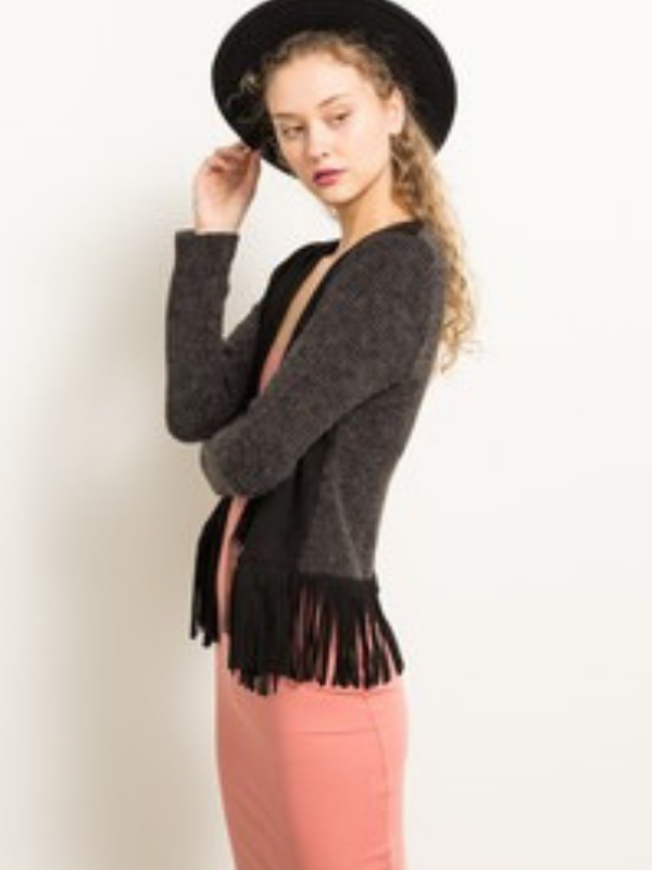 Suede Fringe Sweater