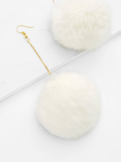 Plush White Pom Pom Drop Earrings - UberStyleWoman