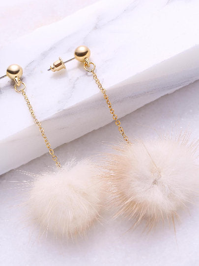 Sophia Beige Pom Pom Drop Earrings - UberStyleWoman
