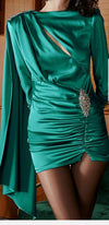 Envy Cloak Mini Dress- Green