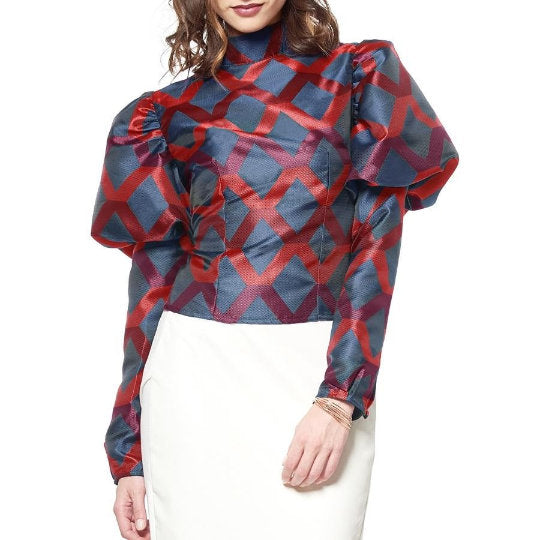 Pauline Geometric Bubble Sleeve Blouse  - UberStyleWoman