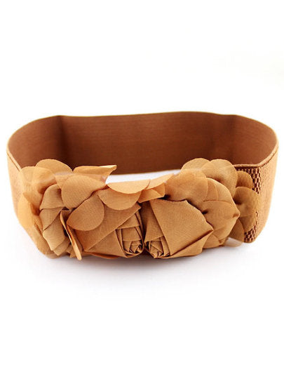 Brown Flower Elastic Rose Belt - UberStyleWoman
