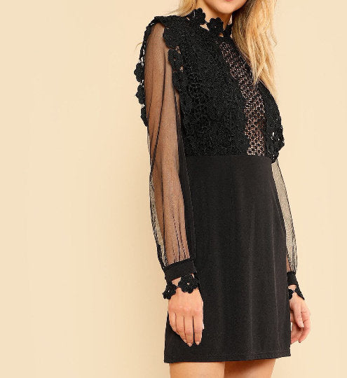 Nicoletta Detailed Mesh Lace Mini Black Dress - UberStyleWoman
