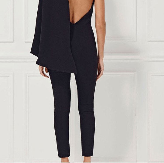 Caty Cape Structured Black Jumpsuit - UberStyleWoman