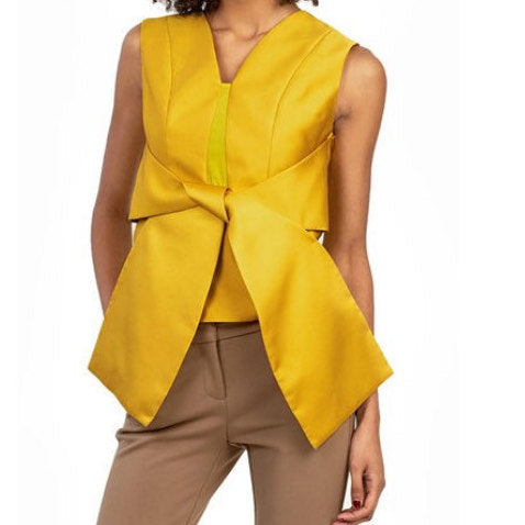 Sophie Mustard Bow Detail Blouse - UberStyleWoman