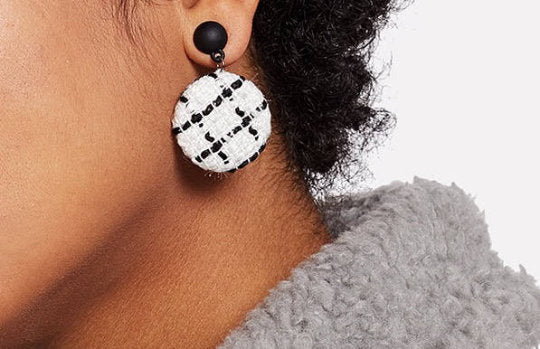 White & Black Drop Earrings - UberStyleWoman