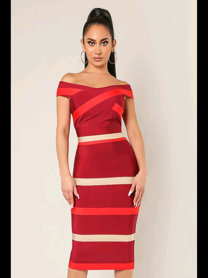 Hannah Top and Skirt Midi Set-Red
