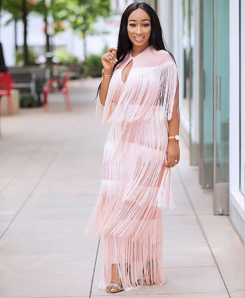 Belinda Tassel Dress-Blush