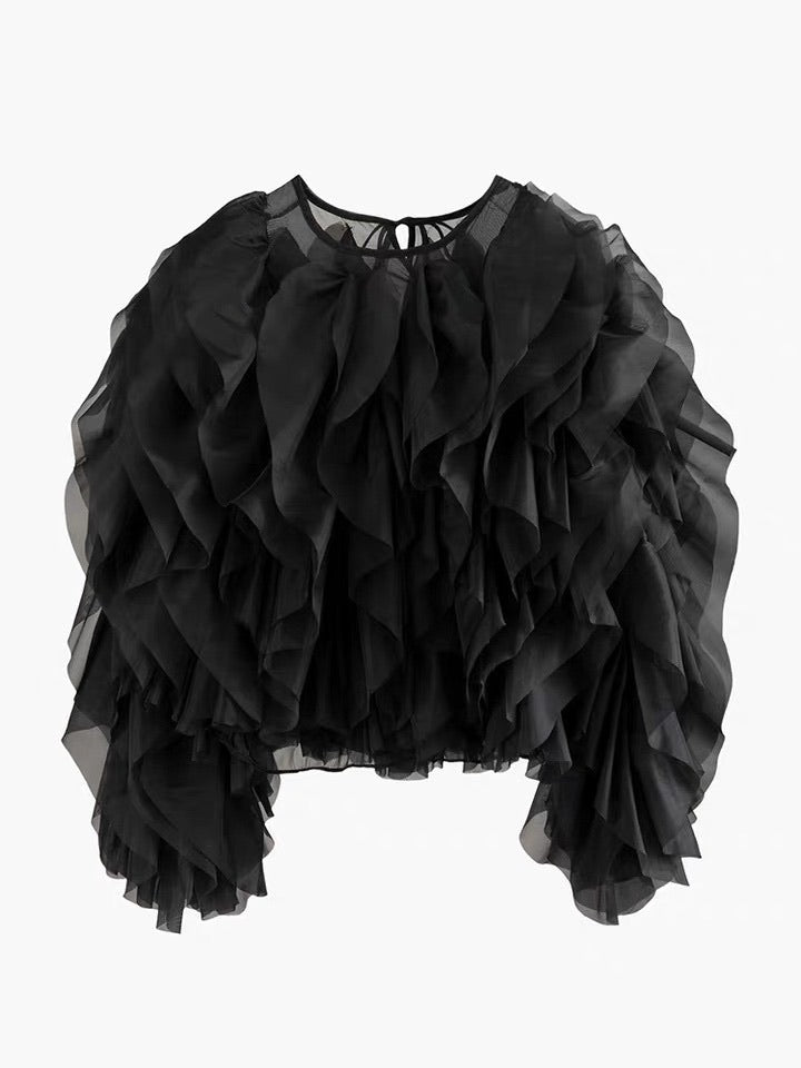 Renee Bubble Blouse~Black