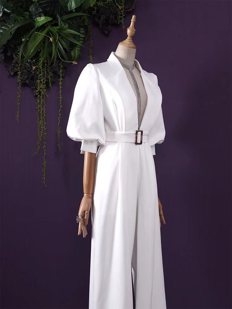 Indira Deep V- Neck Jumpsuit - White