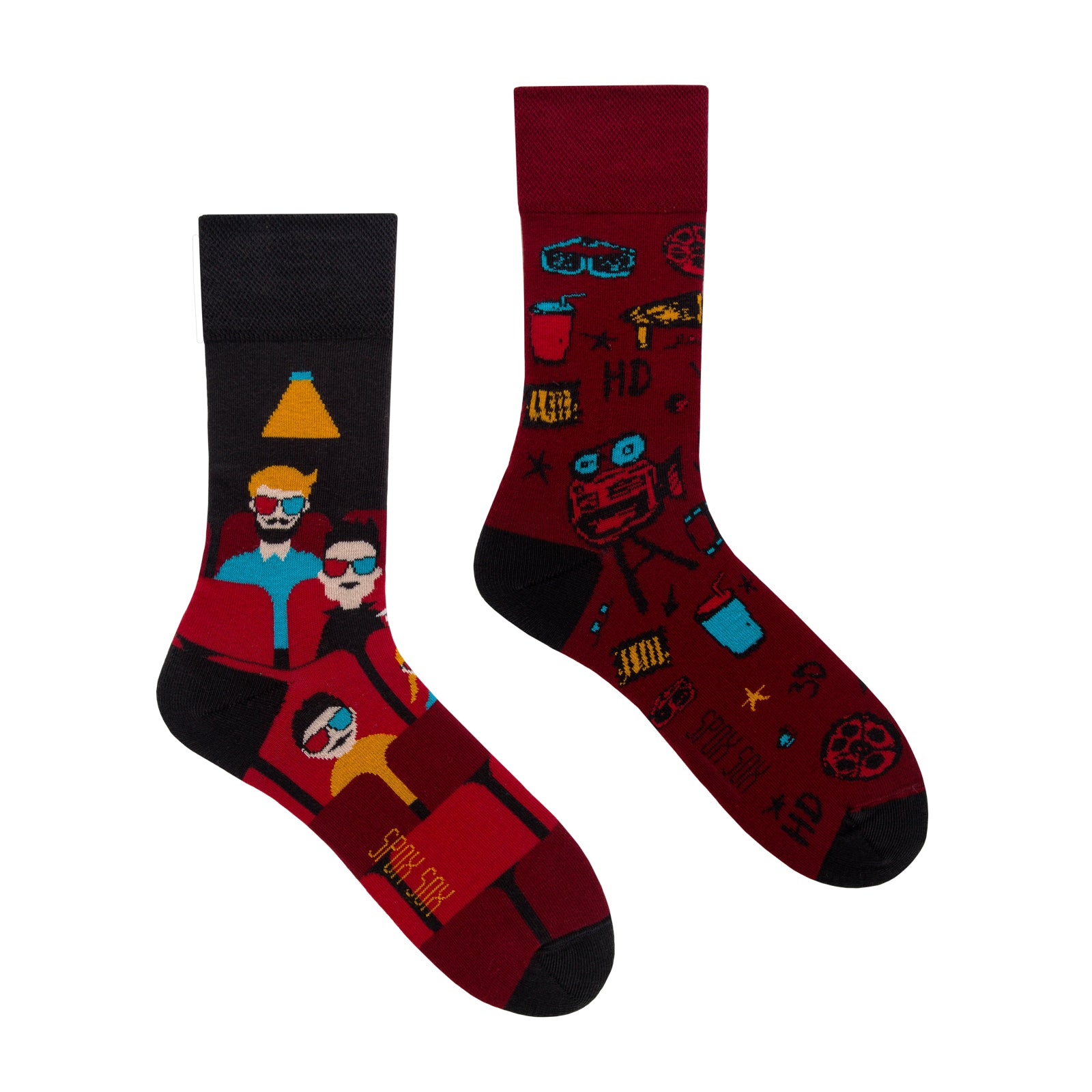 Cinema | Movie | Colourful Mismatched Funny Socks | King Stone | SpoxSox | Spox Sox