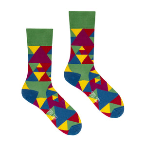 Triangles | Colourful Mismatched Funny Socks | King Stone | Canada | SpoxSox | Spox Sox