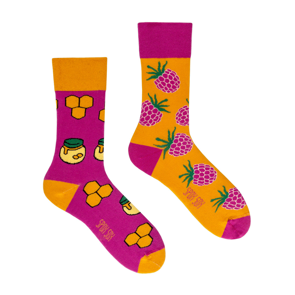 Honey and Raspberry | Colourful Mismatched Funny Socks | King Stone