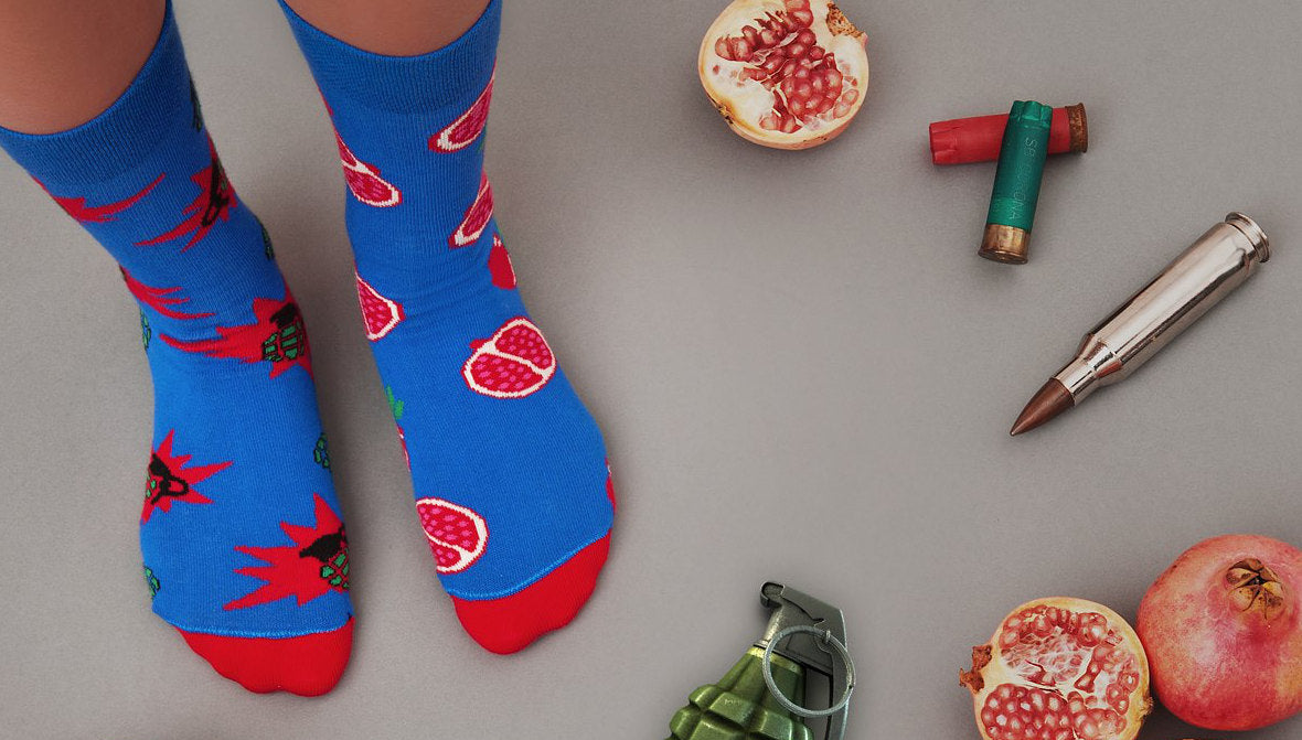 Grenade/Pomegranate | Colourful Mismatched Funny Socks | King Stone