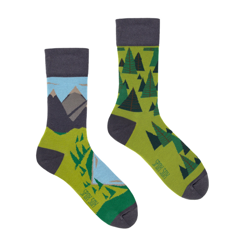 Mountains | Colourful Mismatched Funny Socks | King Stone | Canada | SpoxSox | Spox Sox