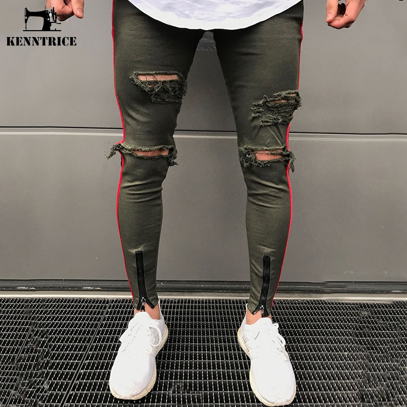 55c0a1e36c1d KENNTRICE Skinny Ripped Jeans Men Joggers Hip Hop Pants Black Army Green  Military Slim Trousers Hole