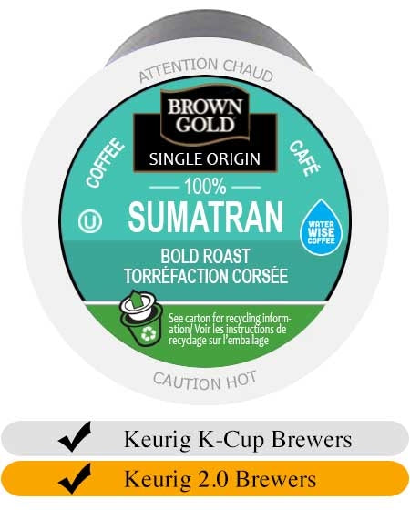 Brown Gold Sumatran Coffee K-Cups (24) | Beanwise