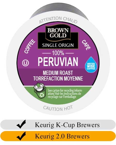 Brown Gold Peruvian Coffee K-Cups (24) | Beanwise