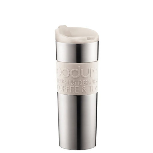Bodum Stainless Steel Travel Mug 15oz (Off White) | Beanwise