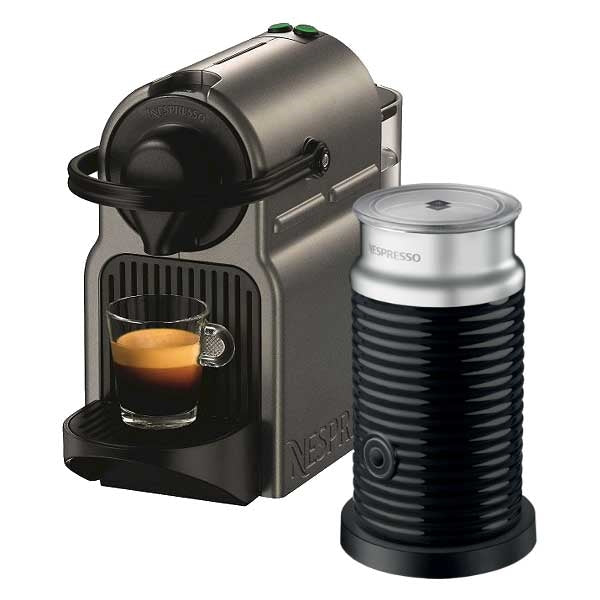 Nespresso Inissia with Aerocinno 3 Milk Frother (Titan Grey) | Beanwise